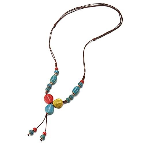 Marrón Statement Collar Oxidado Rojo Azul Amarillo Cerámico Perla Cadena de Y-Forma Colgantes Colgante, Nupciales