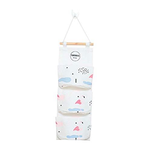 Honton Bolsa de almacenamiento de tela de lino de algodón con gancho, bolsa de almacenamiento montada en la pared, 56 x 20 cm, color blanco