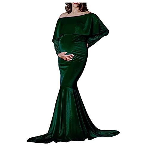 Las Mujeres Maternidad Maxi Vestidos De Terciopelo De Hombro De Manga Fotografía Embarazo Vestido