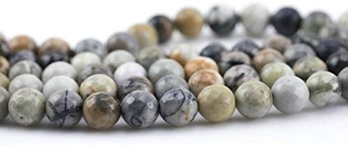 Silver Picasso Jasper ELET Ranking We OFFer at cheap prices TOP16 Grade AAA Round 8mm 10m Faceted 6mm