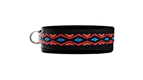 BUDDYPACK   Modernes Hundehalsband   extra-breit und weich gepolstert   für kleine, mittlere und große Hunde   Größe verstellbar   Bunt: Schwarz-Orange-Rot-Blau (S (38-43 cm))