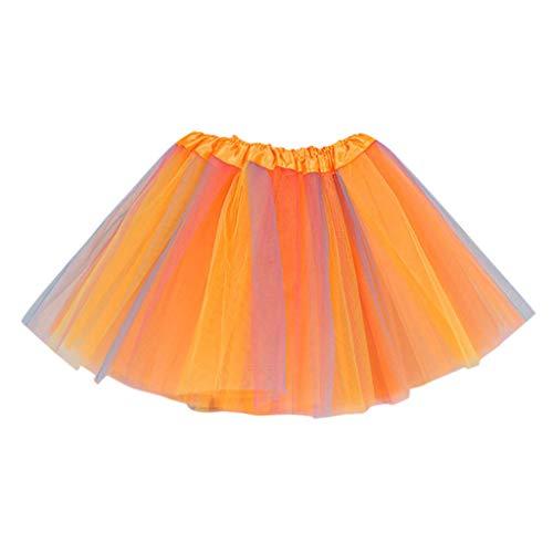 Lazzboy Karneval Kleinkind Kinder Mädchen Baby Multicolor Tutu Rock Tüll Ballett Outfits Kostüm Tüllrock Tütü Prinzessin Ballettrock Pettiskirt Minirock(Orange,2-8 Years Old)