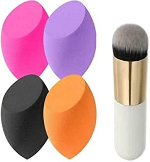 T.Y.A PINK BLUSH BRUSH WITH 4 MAKEUP BLENDER SPONGE (COLOR MAY VERY)