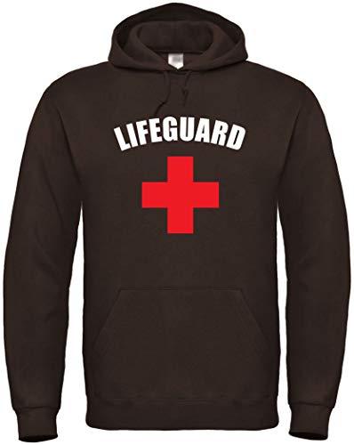 Textildruck Universum Hoodie Lifeguard S bis 5XL (Braun, M)