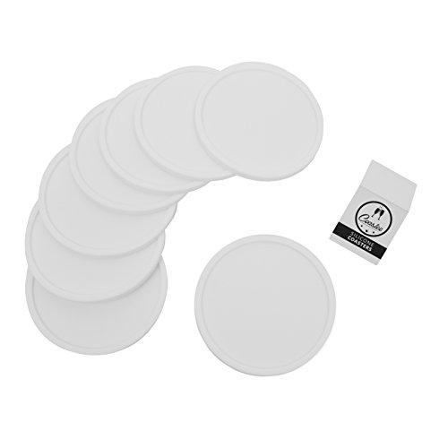 Coastee Silikon-Untersetzer - 8 Stück, weiß, Glasuntersetzer-Set für Bar, Wohnzimmer, Küche