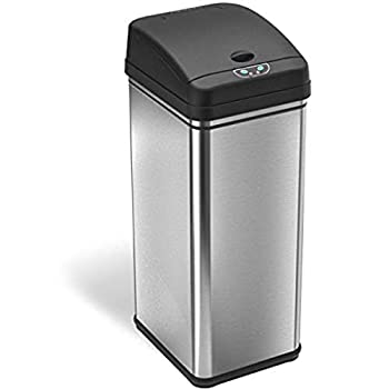 iTouchless 13 Gallon Pet-Proof Sensor Trash Can with AbsorbX Odor Filter Kitchen Garbage Bin Prevents Dogs & Cats Getting in Battery and AC Adapter  Not Included