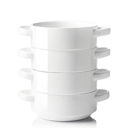 SWEEJAR tazón de sopa de cerámica con asas dobles, cuencos apilados para sopa de cebolla francesa, cereales, guiso, chill, pasta, juego de 4 (blanco)