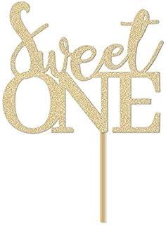 """DKISEE Tarjeta de purpurina con texto en inglés """"Sweet One Cake Topper/Girl First Birthday Party Sign / Decoración de 1er ..."""