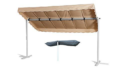 GRASEKAMP Qualität seit 1972 Standmarkise Dubai Beige 375 x 225 cm mit Schutzhülle Terrassenüberdachung Raffmarkise Mobile Markise Ziehharmonika
