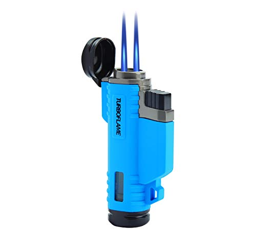 TURBOFLAME Aqua Blue - Twin Laser Jet Flames - Winddichte aansteker | Zeiljacht aansteker - Ideaal voor Camping