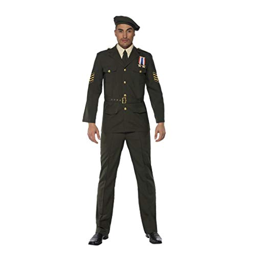 Kriegszeit Offizier Grün Barett Schlips Hose Gürtel und Jacke, Large