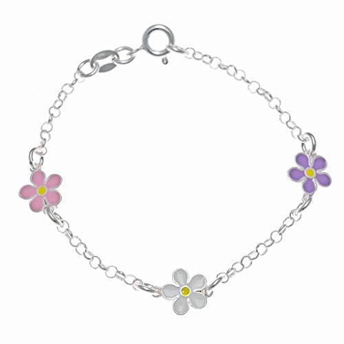 Pulsera Plata Flores