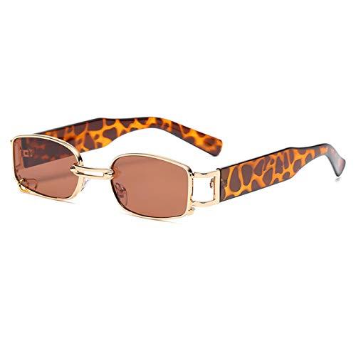 Gafas de Sol Sunglasses Hombre Gafas De Sol Punk Diseño Vintage Señoras Círculo Decorar Gafas De Sol para Mujer Rectángulo Steampunk Gafas C2Goldbrown