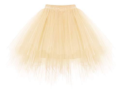 HomRain Tutu Tüllrock Damen 50er Rockabilly Petticoat Ballet Firt Tulle Tanzkleid Unterkleid Festliche Tüll Crinoline Petticoat für Rockabilly Kleid Champagne M