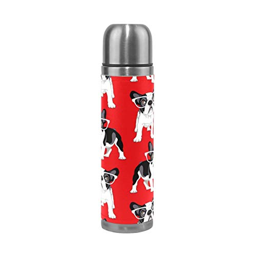 Thermos ThermoCafé Botella térmica aislada, Patrón de Bulldog Francés,Frasco de Vacío de Acero Inoxidable 500 ml