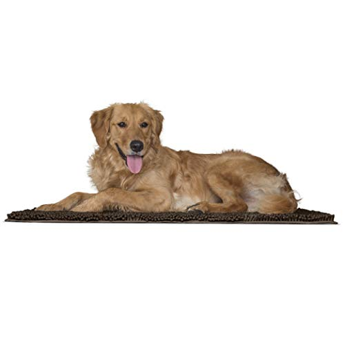Furhaven Pet Bed Mat for Dogs and Cats - Muddy Paws Absorbent Chenille Shammy Bath Towel and Food Mat Rug, Mud (Brown), Large