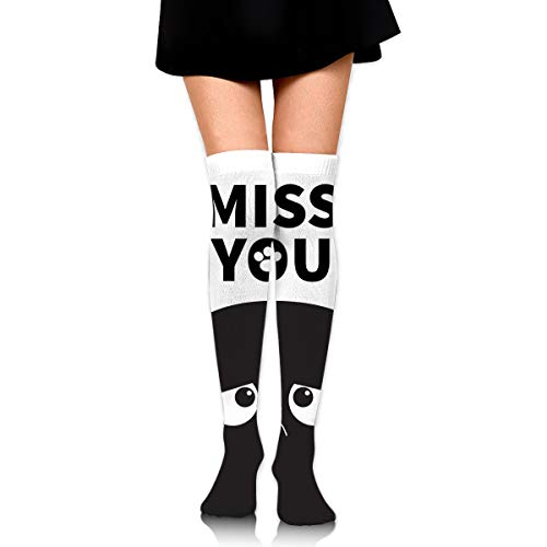 best gift Miss You Black Cute Sad Grumpy Cat 23.6 Inch Compression Socks High Boots Stockings Long Hose For Yoga Walking For Women Man