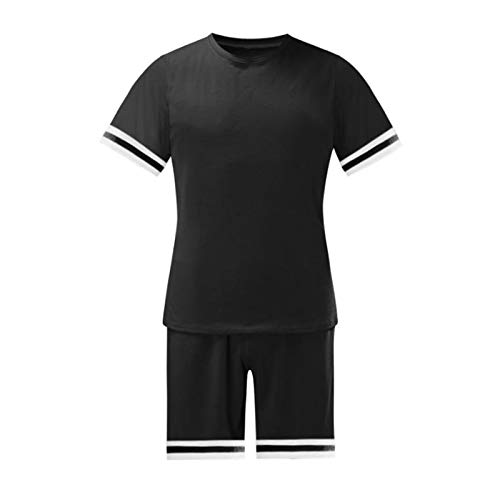 Conjunto de ropa deportiva de dos piezas para hombre de manga corta camisetas y pantalones cortos con estilo casual