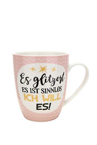GILDE Tasse Es glitzert es ist sinnlos ich Will es Porzellan 10x12 cm ca. 360 ml Frauen, Geschenkidee, Geschirr, Geschenk, Glitter