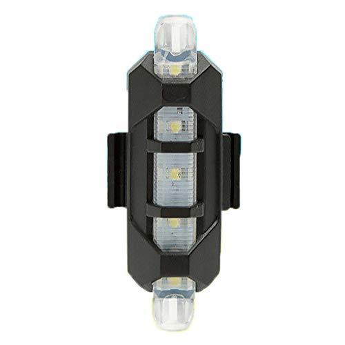 ReooLy luz de Bicicleta luz Trasera luz de Advertencia Delantera led USB Impermeable Equipo de equitación Accesorios de Bicicleta de montaña(Blanco)