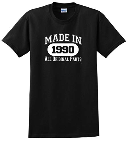 30th Birthday Gift Made 1990 All Original Parts T-Shirt Large Black