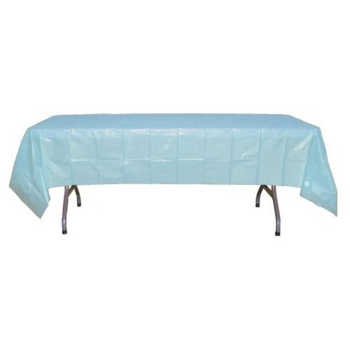 6-Pack Premium Plastic Tablecloth 54in. x 108in. Rectangle Plastic Table cover - Light Blue