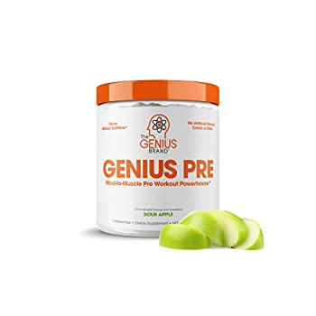 Genius Pre Workout Powder – All Natural Nootropic Preworkout & Caffeine Free Nitric Oxide Booster w/Beta Alanine & Alpha GPC | Boost Focus Energy & NO | Muscle Builder Supplement – Essential Herbs