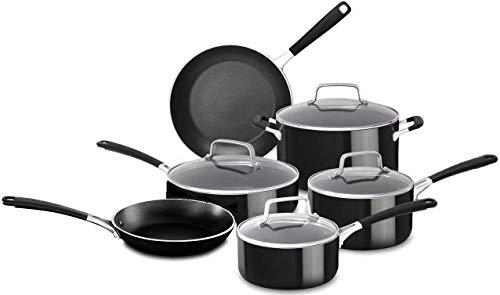 KitchenAid 12 Piece Heavy-Gauge 4.0 Stainless Steel Base Induction Dishwasher Safe Aluminum Nonstick Cookware Set Onyx Black
