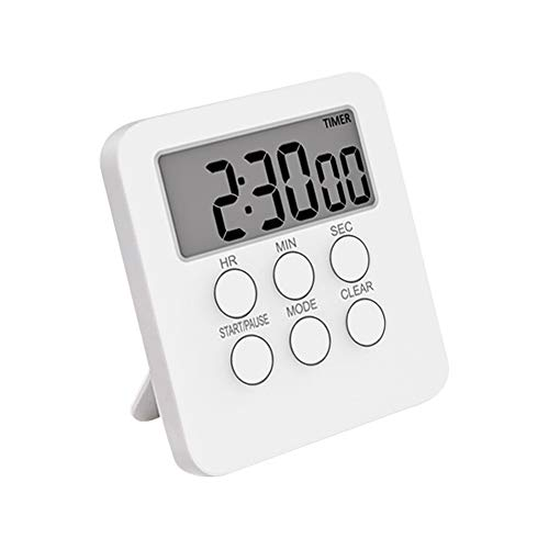 Anjing Digital Kitchen Timer Magnetic Countdown Timer Mute Optional Magnet and Stand Large Display White