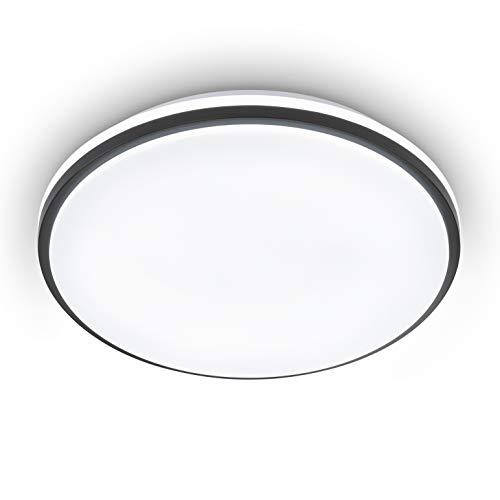 EGLO LED Deckenleuchte Marunella, 1 flammige Wandlampe in Stufen dimmbar, Deckenlampe Modern aus Stahl und Kunststoff in Weiß, Schwarz, Wohnzimmerlampe, neutralweiß, Ø 34 cm