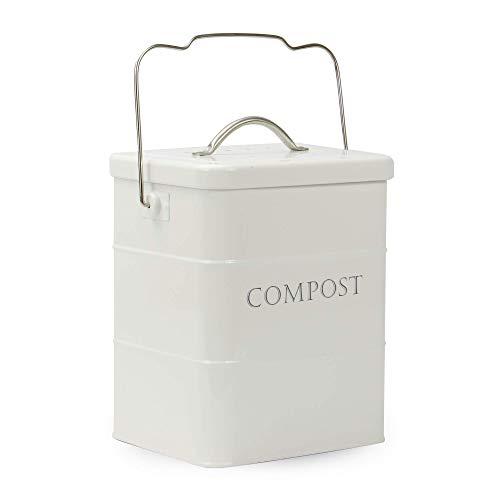 Bac à compost de 3,5 L | White Food & Waste Caddy | Bacs de rangement en métal | Boîte de recyclage en plein air | M&W