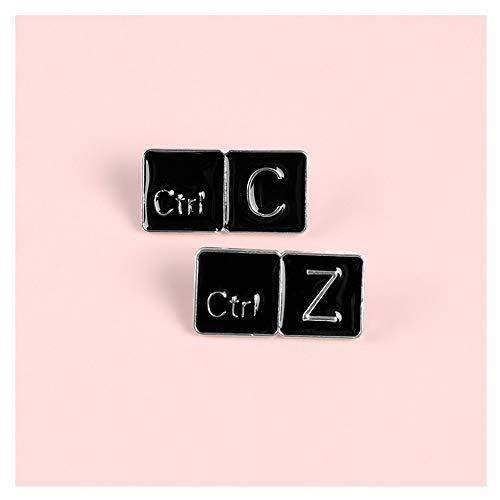 JIWEIER Meme Ctrl C/Z-Tastatur Emaille Stift kopieren Return Keys Tabletten Broschen Geschenk-Spiel-Symbol-Denim-Jeans-Abzeichen-Knopf Emaille Anstecknadeln Broschen für Frauen (Size : Set)