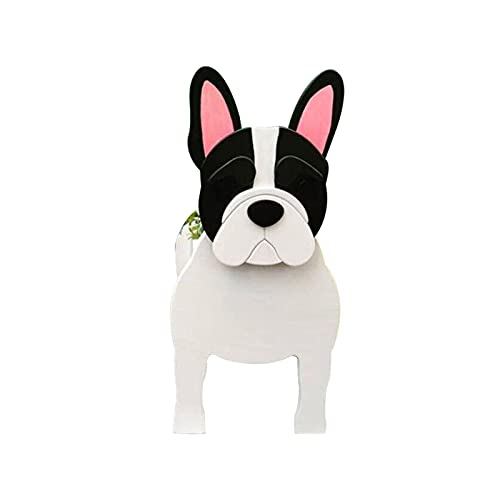 D-GROEE Animal Shaped Pot, Dog Planter, Wooden Cute Dog Shape Garden Flower Pot, Flower Pot Cute Eye-catching Wood Decorative French Bulldog Animal Planter for Garden White