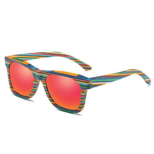 MAATCHH Occhiali da Sole in Legno di bambù Occhiali da Sole polarizzati for Gli Uomini Donne all'aperto Protezione UV Vintage Leggeri Occhiali da Sole .Protezione UV (Color : Red, Size : One Size)