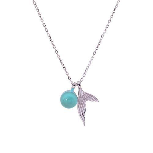 MX YANRR Collar de Plata para Mujer 925 Sterling Silver Aguamarina Artículo...