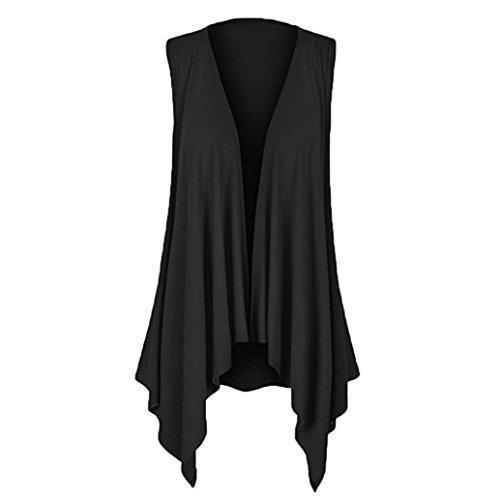 OSYARD Damen Lässige Feste ärmellose drapierte unregelmäßige Hem Open Cardigan Top Bluse(EU 48 / 2XL, Schwarz)