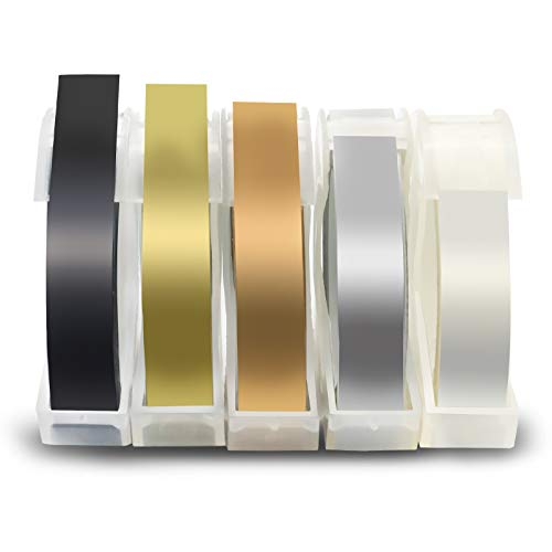 Fentec 9mm Kompatibel Prägeband als Ersatz für Dymo 3D Vinyl-Prägeetiketten Kunststoff für Dymo S0717930 Omega Junior Embosser Organizer Xpress Motex Maxi Schwarz/Gold/Silber/Klar/Champagner Gold