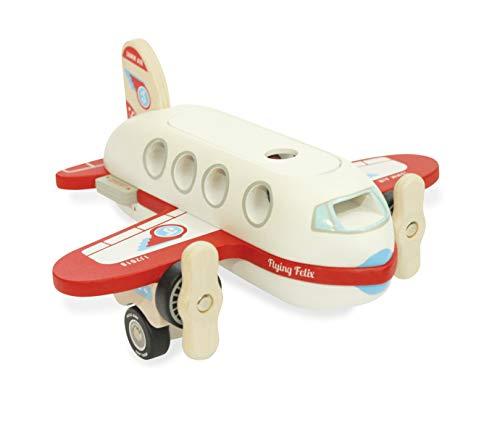 Indigo Jamm Flying Felix, Flugzeugspielset aus Holz mit abnehmbarem Dach und Passagieren