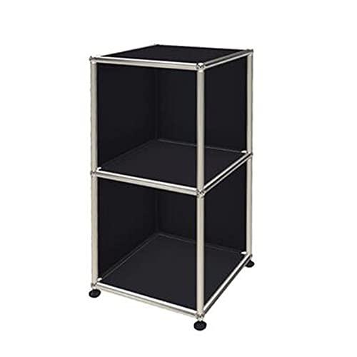 Jcnfa-side table 3-Tier Multipurpose Shelf Display Rack,Stainless Steel Metal Storage Bookshelf,Open Display Cabinet(Size:15.74 * 15.74 * 29.13in,Color:black)