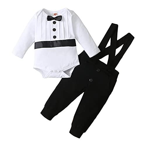 FYMNSI Traje de bautizo para bebé, traje de bautismo, traje de boda, traje de hombre, esmoquin, traje de algodón, tirantes y pantalones, 2 piezas, Manga larga negra., 12-18 Meses