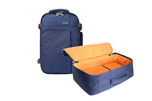 Tucano-Tugò-zaino da viaggio cabinabile. Vano laptop 13.3  laptop 15.6  MacBook 12  MacBook Air 13  MacBook Pro 13  MacBook Pro 15  Schienale ergonomico. Tasche per PC e tablet. Blu