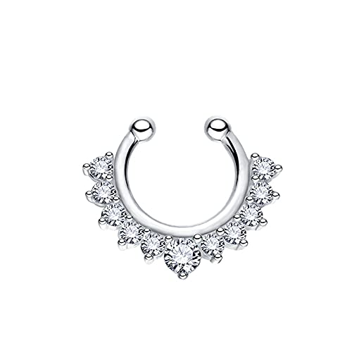316L acero inoxidable con incrustaciones con incrustaciones de circón magnético falso anillo de nariz falso, falso anillos de septum de nariz falso clip en nariz anillos de aro ( Color : Silver )