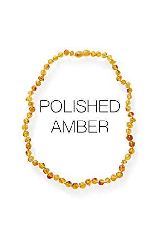 Meraki Amber Necklace - Polished Baroque Amber Necklace | Certified Genuine Amber Necklace | Honey Color (12.5 Inches)