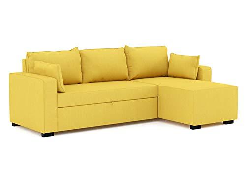 Confort24 Leah Hoekbank in L-vorm, omzettbaar, 3-zits, ligstoel rechts of links, van stof, woonkamerdecoratie Mosterd geel