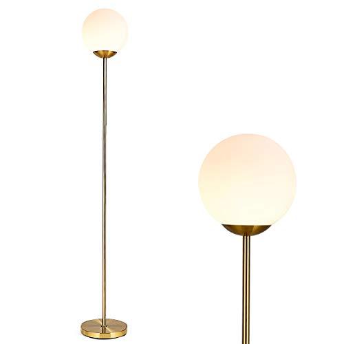 GOPLUS Stehlampe mit Kugel-Glasschirm, Stehleuchte mit Fußpedal-Schalter, Standlampe aus Eisen, E27 Lampenfassung, mit 7 W LED-Birne, Warmweißes Licht, für Wohnzimmer, Schlafzimmer oder Büro