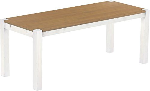 Brasilmöbel Esstisch Rio Kanto 200x80 cm Eiche Natur Weiss Pinie Massivholz Größe und Farbe wählbar Esszimmertisch Küchentisch Holztisch Echtholz vorgerichtet für Ansteckplatten Tisch ausziehbar