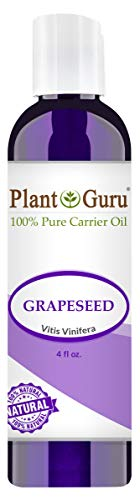 Grapeseed Oil 4 oz. Cold Pressed 100% Pure Natural Carrier - Skin, Body And Hair Moisturizer. Works For Massage, Aromatherapy, More!