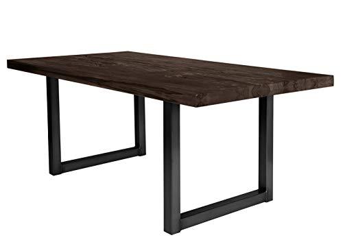 Sit Möbel Tische Tisch 240x100 cm, Balkeneiche Carbon-grau Platte Balkeneiche, Gestell Eisen L = 240 x B = 100 x H = 76 cm Platte Carbon-grau, Gestell antikschwarz