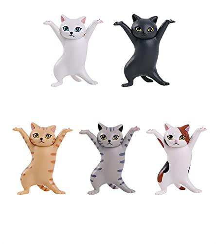 fuxiste 5PCS Dancing Cat Auricular Stand para AirPods 1/2/3, Cat Coffin Dance, Titular de auriculares, Soporte para bolígrafos, Soporte de pantalla de escritorio, Muñeca linda decoración hecha a mano