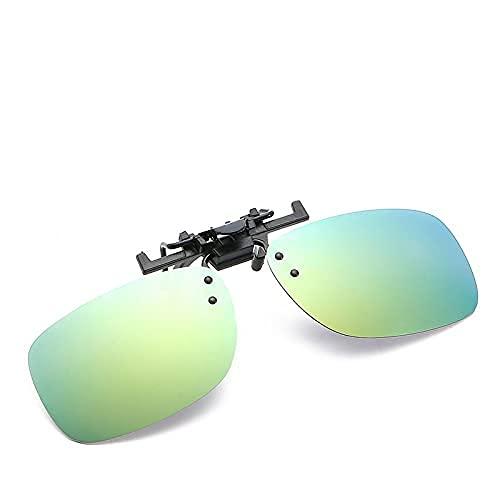 ZHZHUANG Gafas de Sol Clip Cuadrado Polarizado Clip Polarizado Hombre Driver Lens Myopia Gafas Clip,E